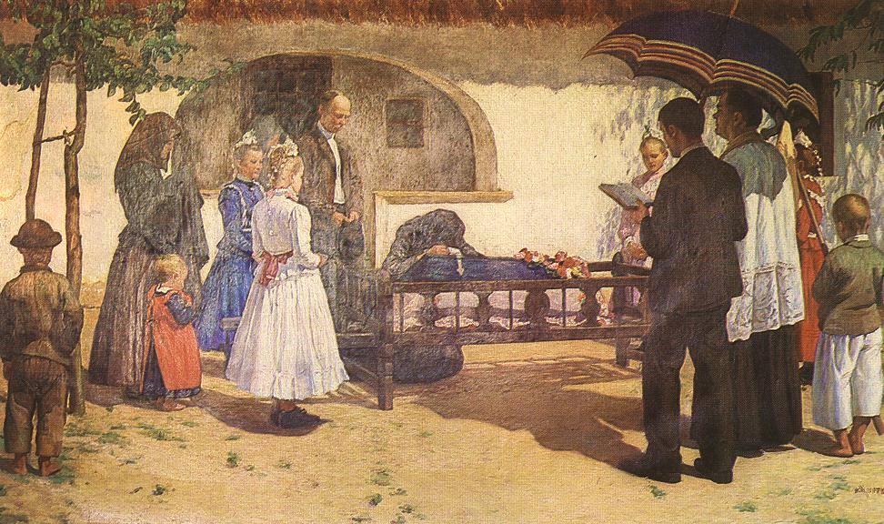 Funeral of a Child at Somogytur 1907 | Lajos Kunffy | oil painting