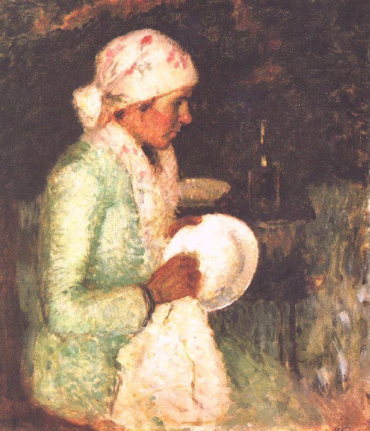 Woman Drying a Plate 1919   Jozsef Koszta   oil painting