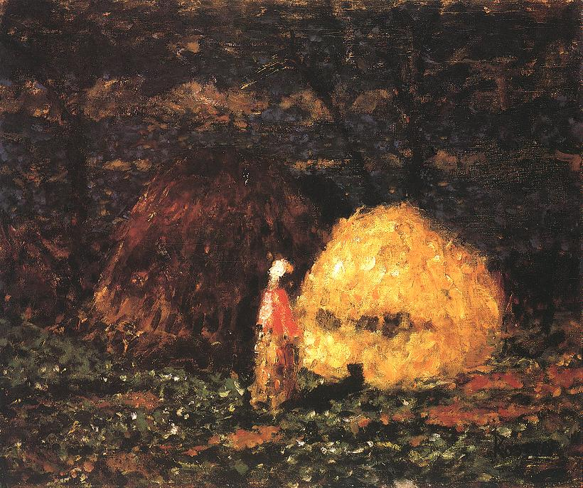 Haystacks with Woman in Pink Blouse 1940 | Jozsef Koszta | oil painting