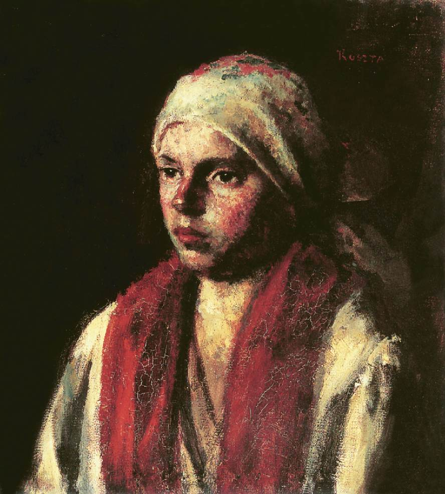 Girl with Red Kerchief 1917 | Jozsef Koszta | oil painting