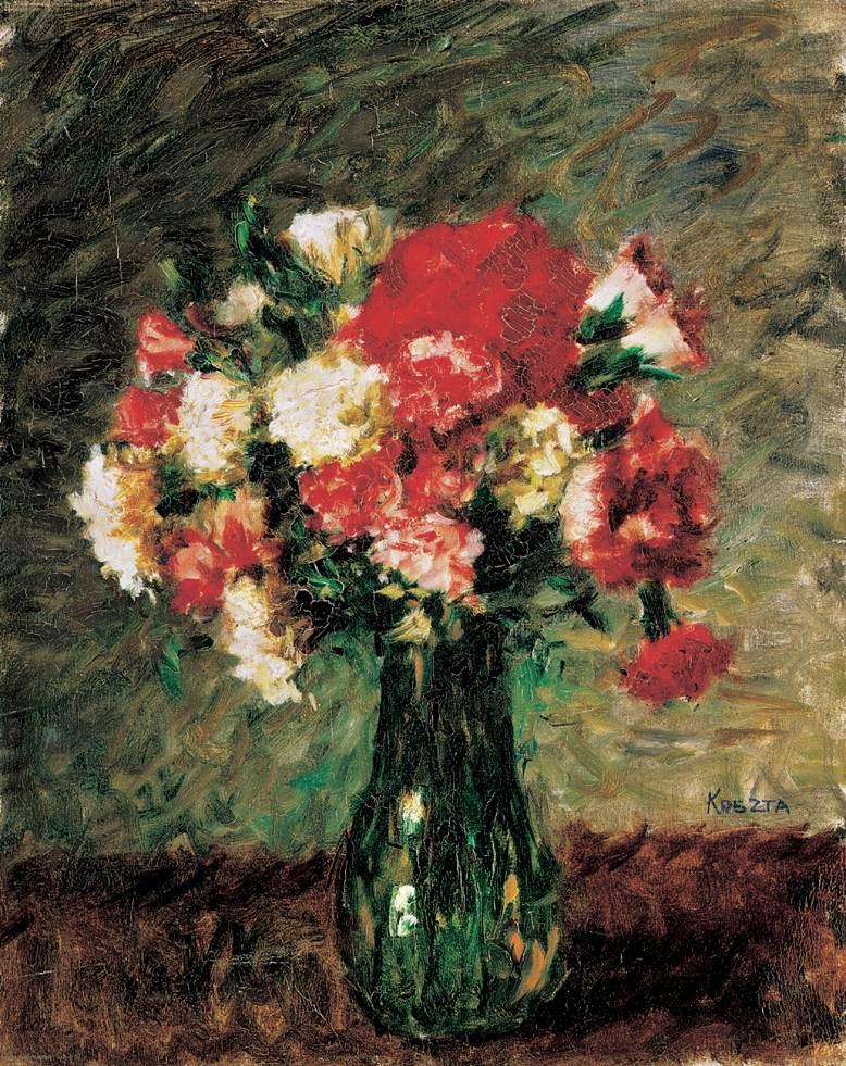 Flower Still life with Carnation | Jozsef Koszta | oil painting