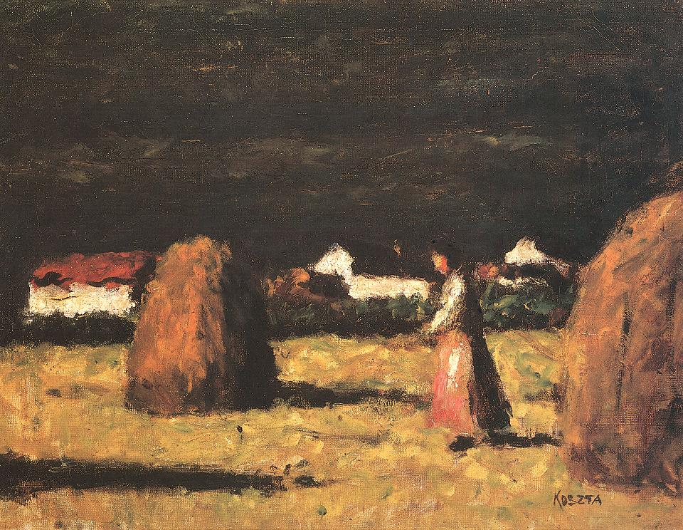 Farmstead with Haystacks and Woman in Pink Apron 1930s | Jozsef Koszta | oil painting