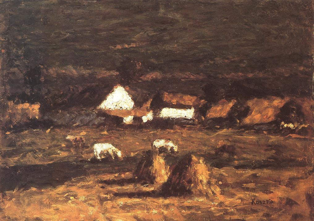 Farmstead with Calves 1930s | Jozsef Koszta | oil painting