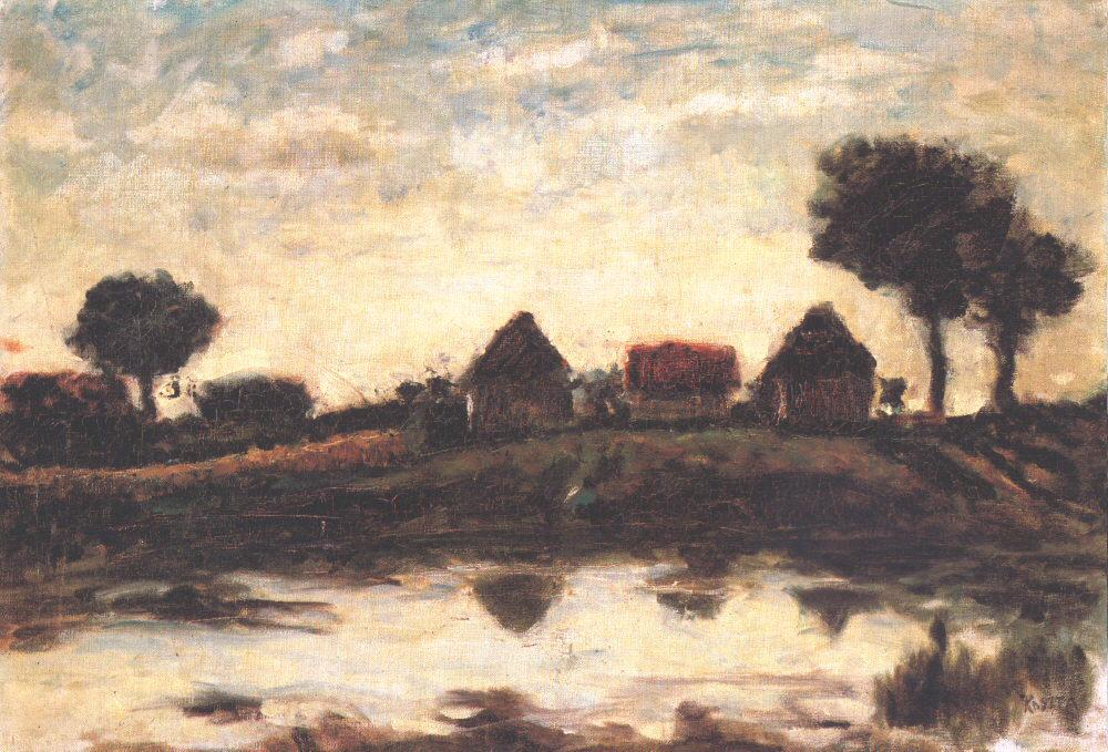 Farmhouse with Lake 1910s | Jozsef Koszta | oil painting