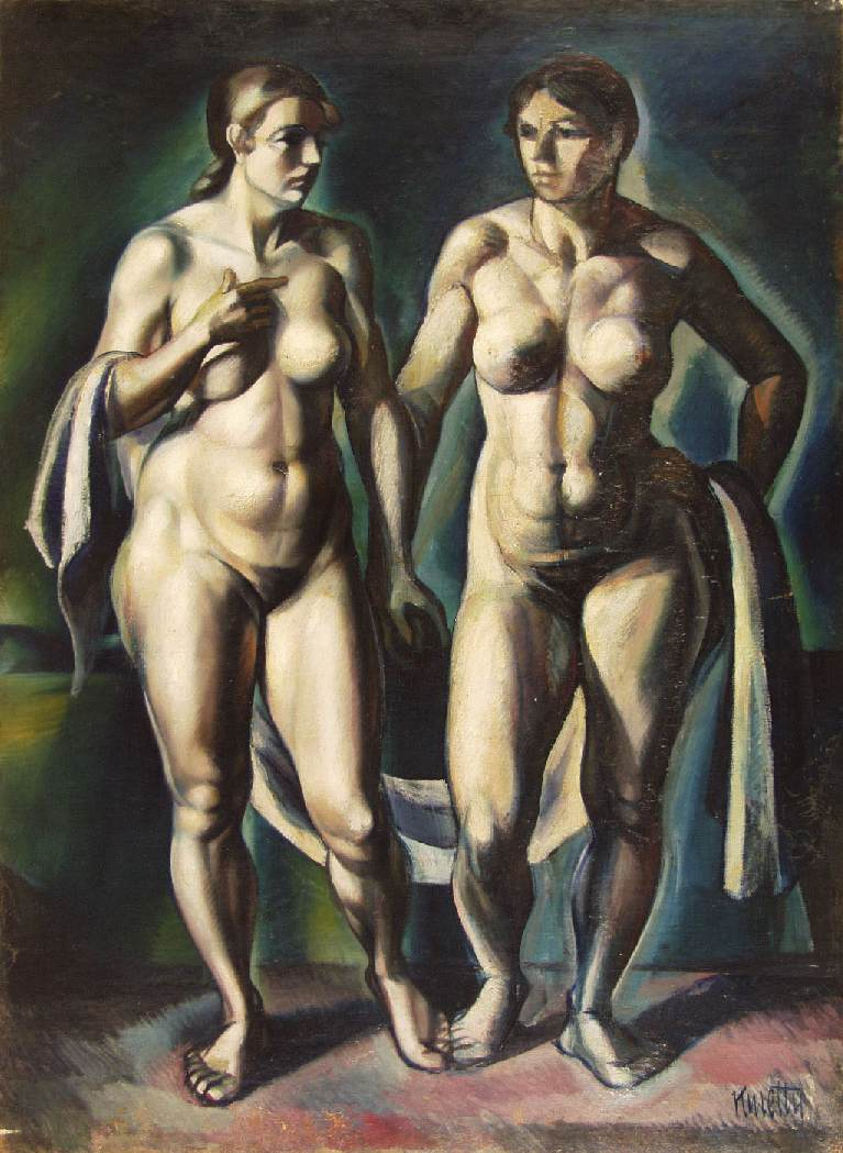 Two Standing Nudes with Drapery 1918 | Janos Kmetty | oil painting
