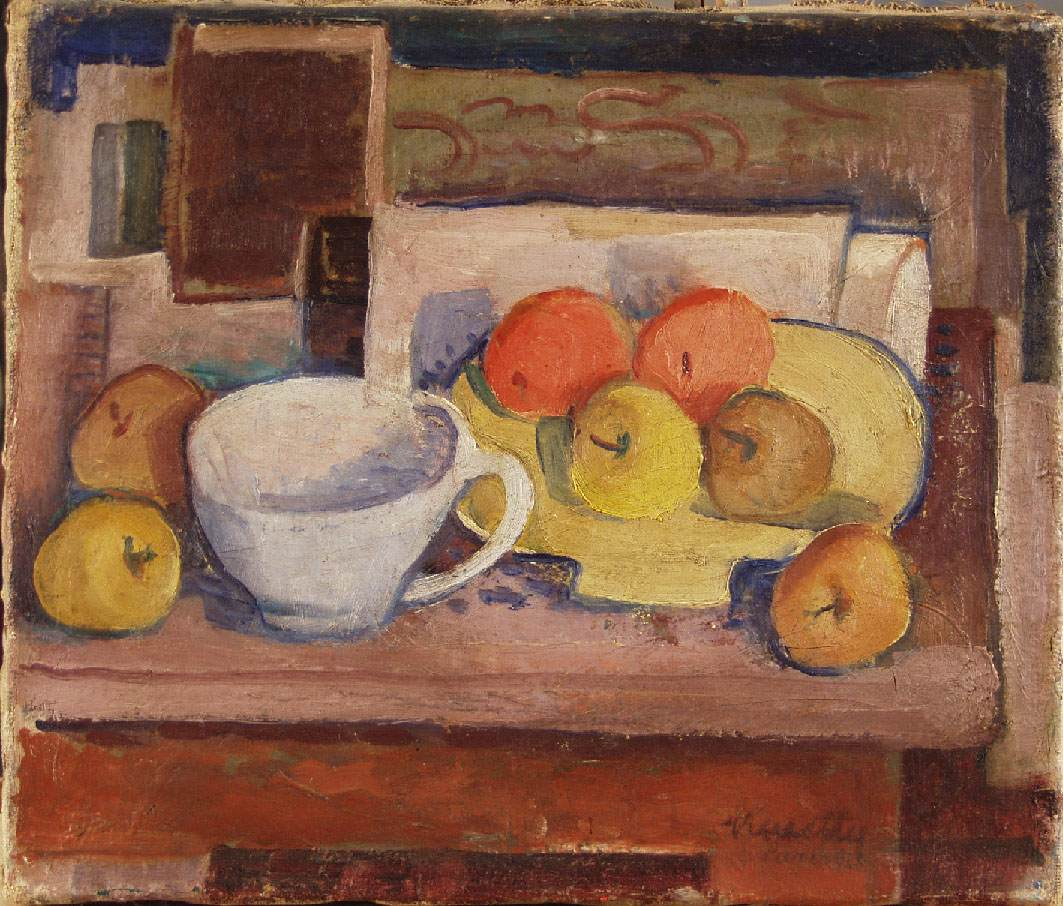 Still life with Yellow Plate 1928 | Janos Kmetty | oil painting