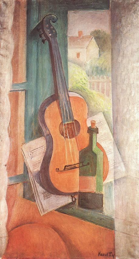 Still life with Guitar 1932 | Janos Kmetty | oil painting