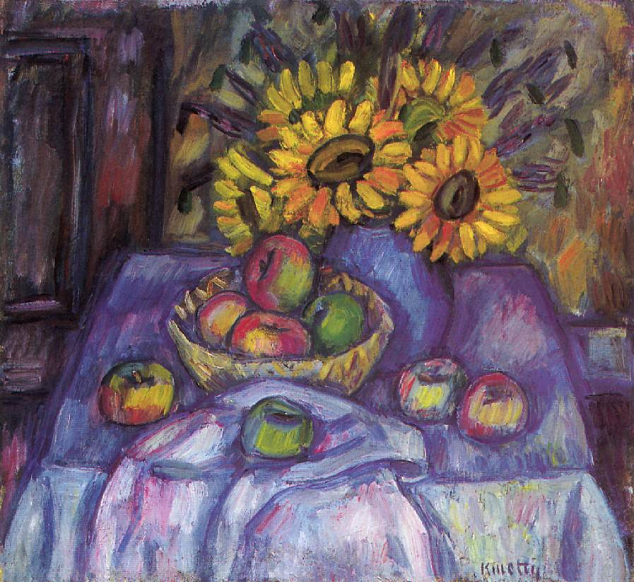 Still life with Apples and Sunflowers | Janos Kmetty | oil painting