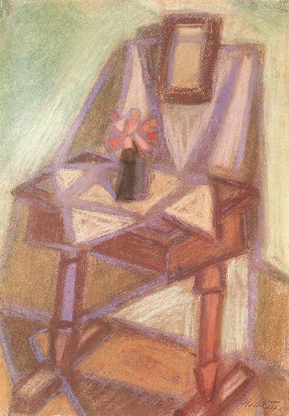 Side table with Mirror 1951 | Janos Kmetty | oil painting