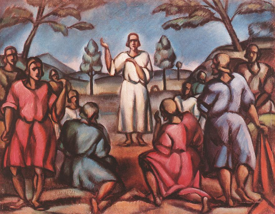 Sermon on the Mountain 1916 17 | Janos Kmetty | oil painting