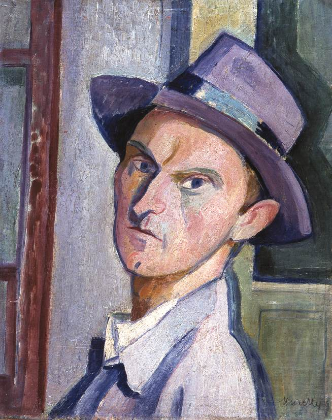 Self-portrait in a Purple Hat 1929 | Janos Kmetty | oil painting
