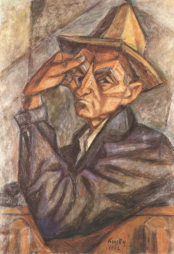 Self portrait with Yellow Hat 1965 | Janos Kmetty | oil painting