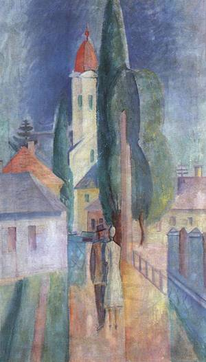 Street at Nagybanya 1930 | Janos Kmetty | oil painting