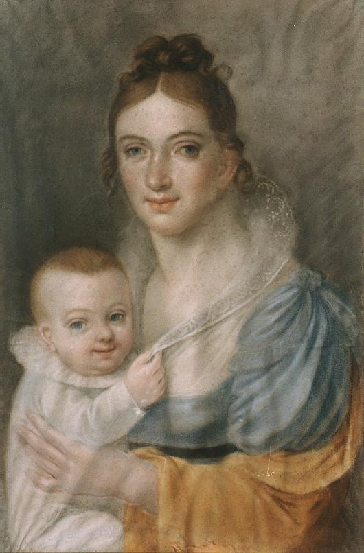The Wife of the Artist and her Child 1814 | Samuel Kiss | oil painting