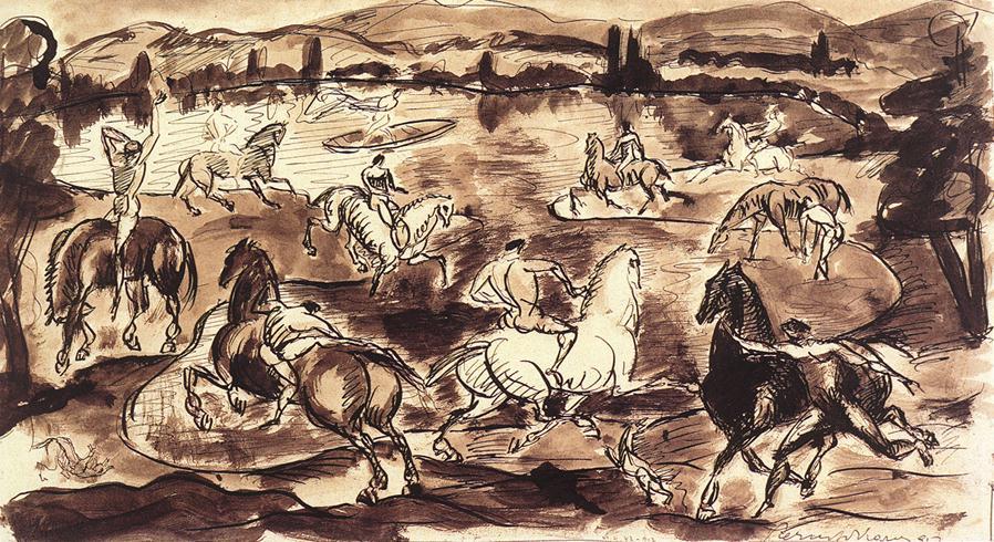 Riders 1912   Karoly Kernstok   oil painting
