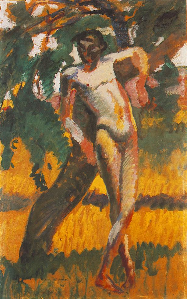 Nude Boy Leaning against a Tree 1911 | Karoly Kernstok | oil painting