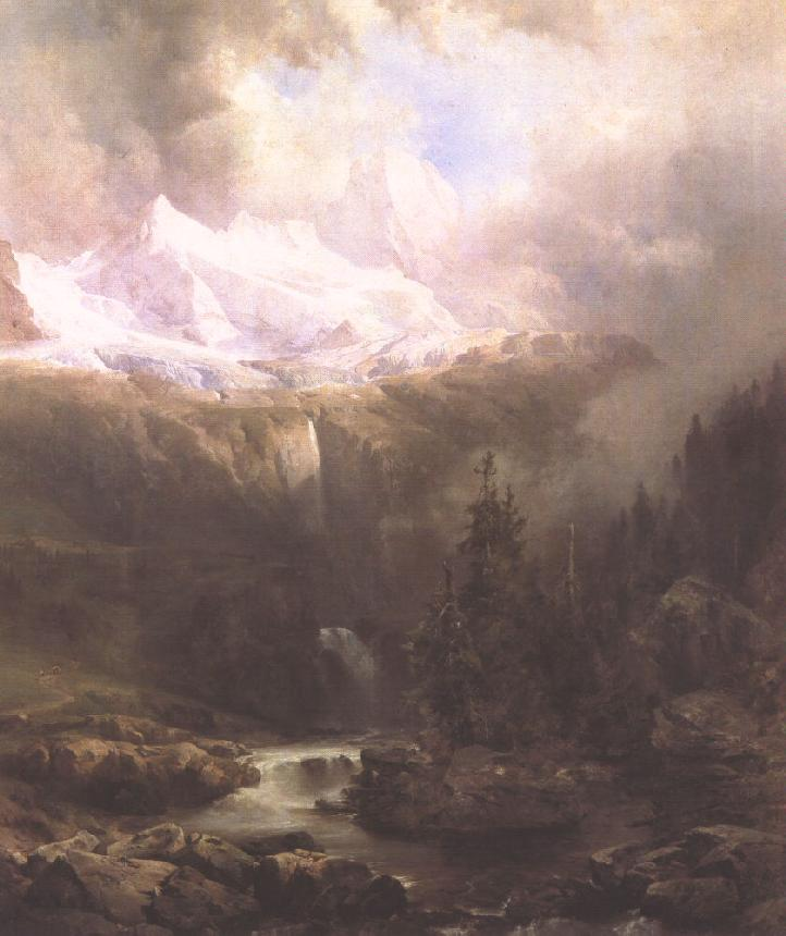 Landscape in the Tatra Mountains with Waterfall 1860 | Gusztaw Keleti | oil painting