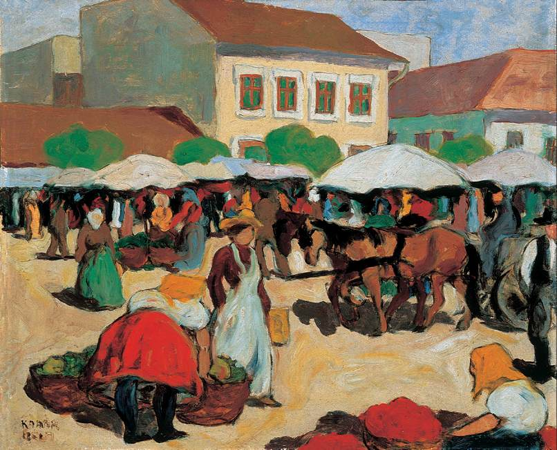 Market Square 1910 | Bela Kadar | oil painting