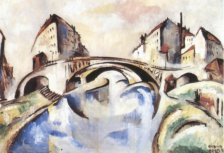 Cityscape with Bridge 1910s | Bela Kadar | oil painting