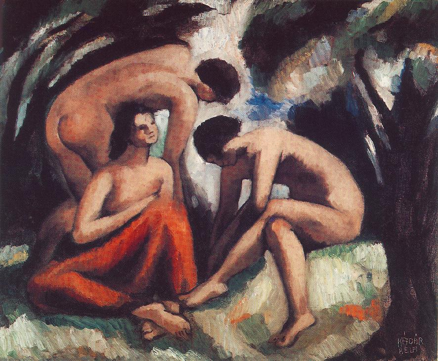 Three Nudes 1916 | Bela Kadar | oil painting