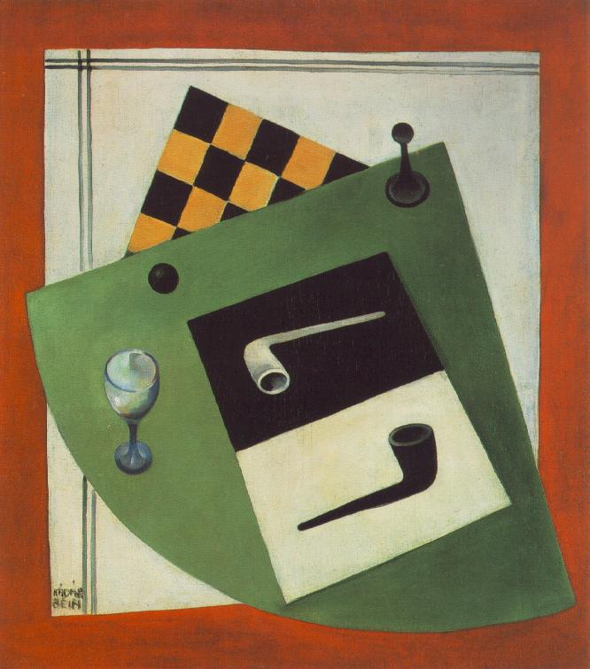 Still life with Chessboard and Pipe 1920 | Bela Kadar | oil painting