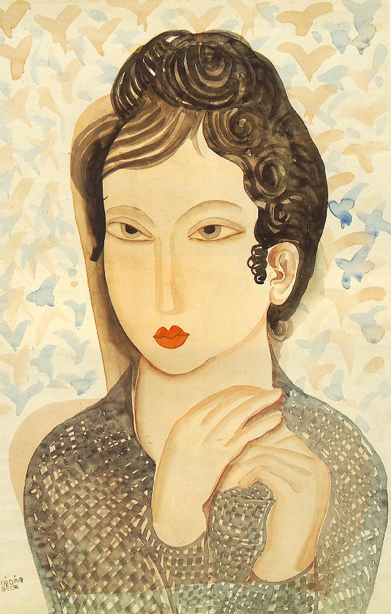 Portrait of a Woman with Black Hair 1938 | Bela Kadar | oil painting