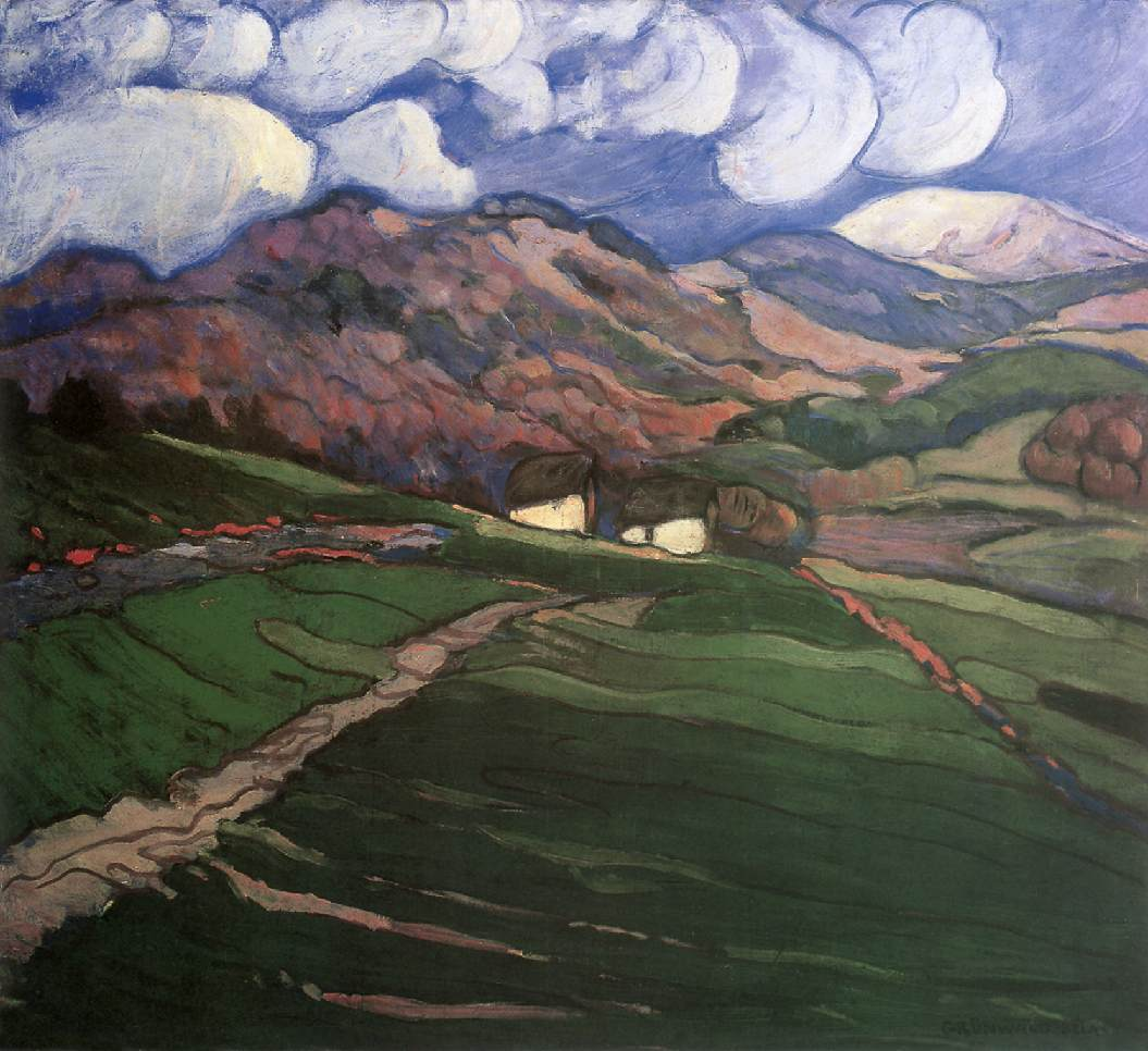 View of Nagybanya with Gutin 1900   Bela Grunwald Ivanyi   oil painting