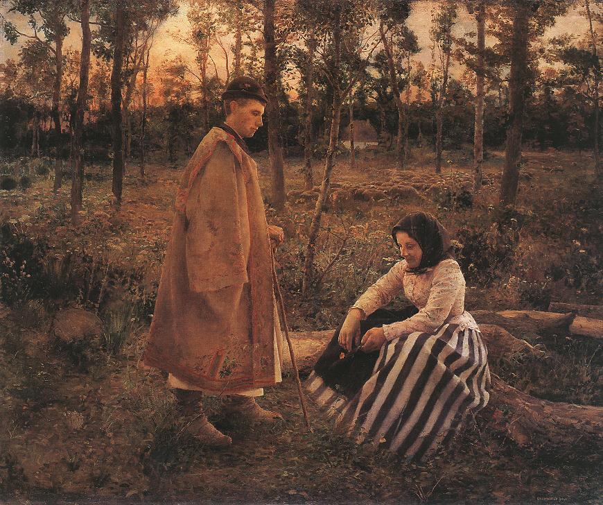 Shepherd and Peasant Woman 1892   Bela Grunwald Ivanyi   oil painting