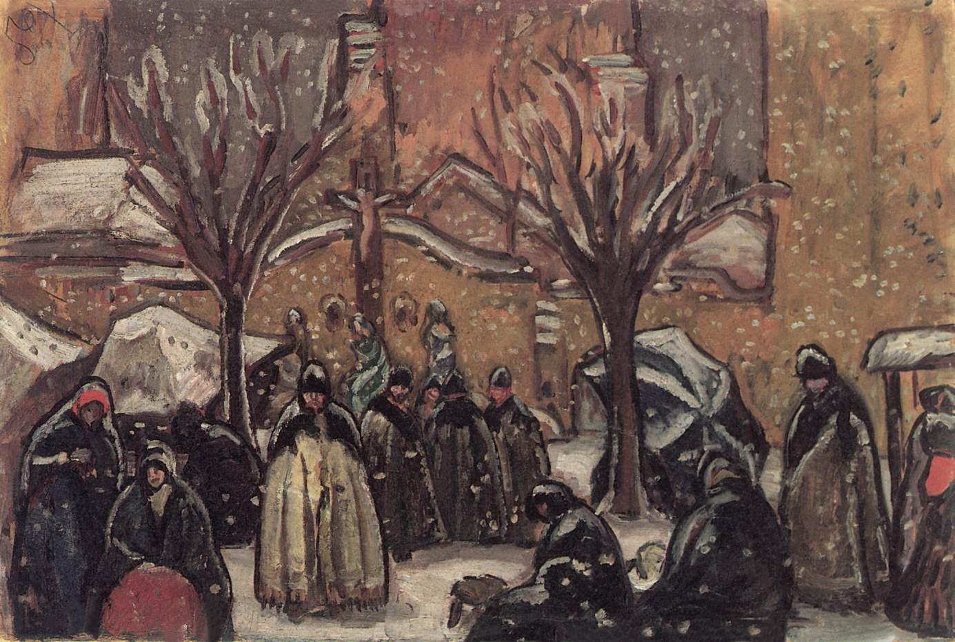 Market of Kecskemet in Winter 1911   Bela Grunwald Ivanyi   oil painting