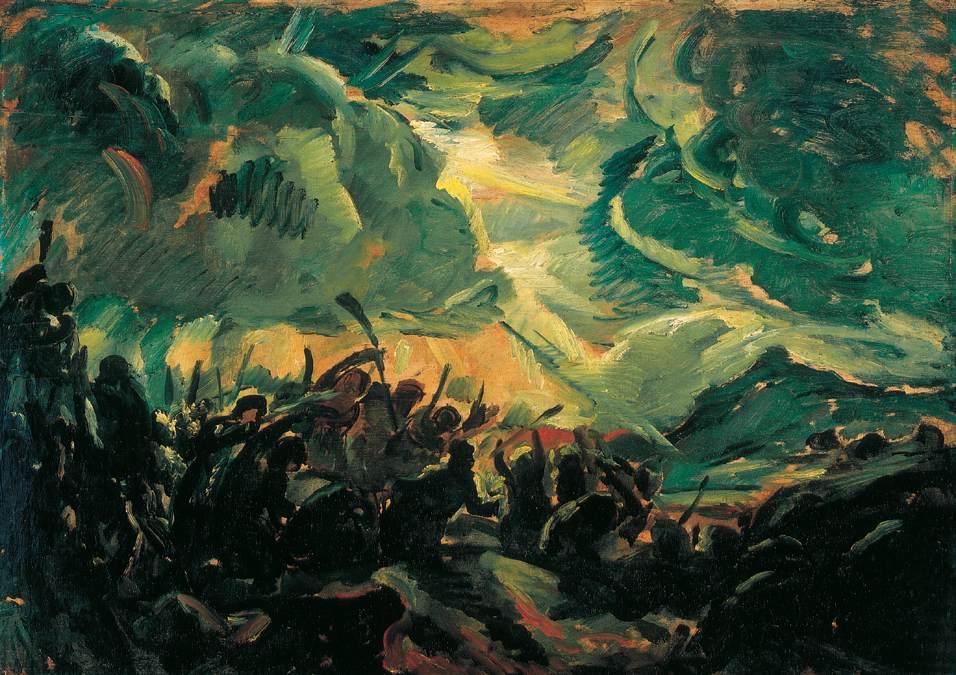 Battle   Bela Grunwald Ivanyi   oil painting