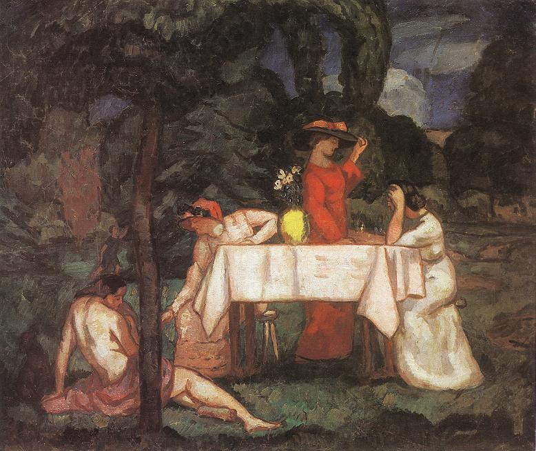 The Tea Party (In the garden) 1910s | Bela Grunwald Ivanyi | oil painting