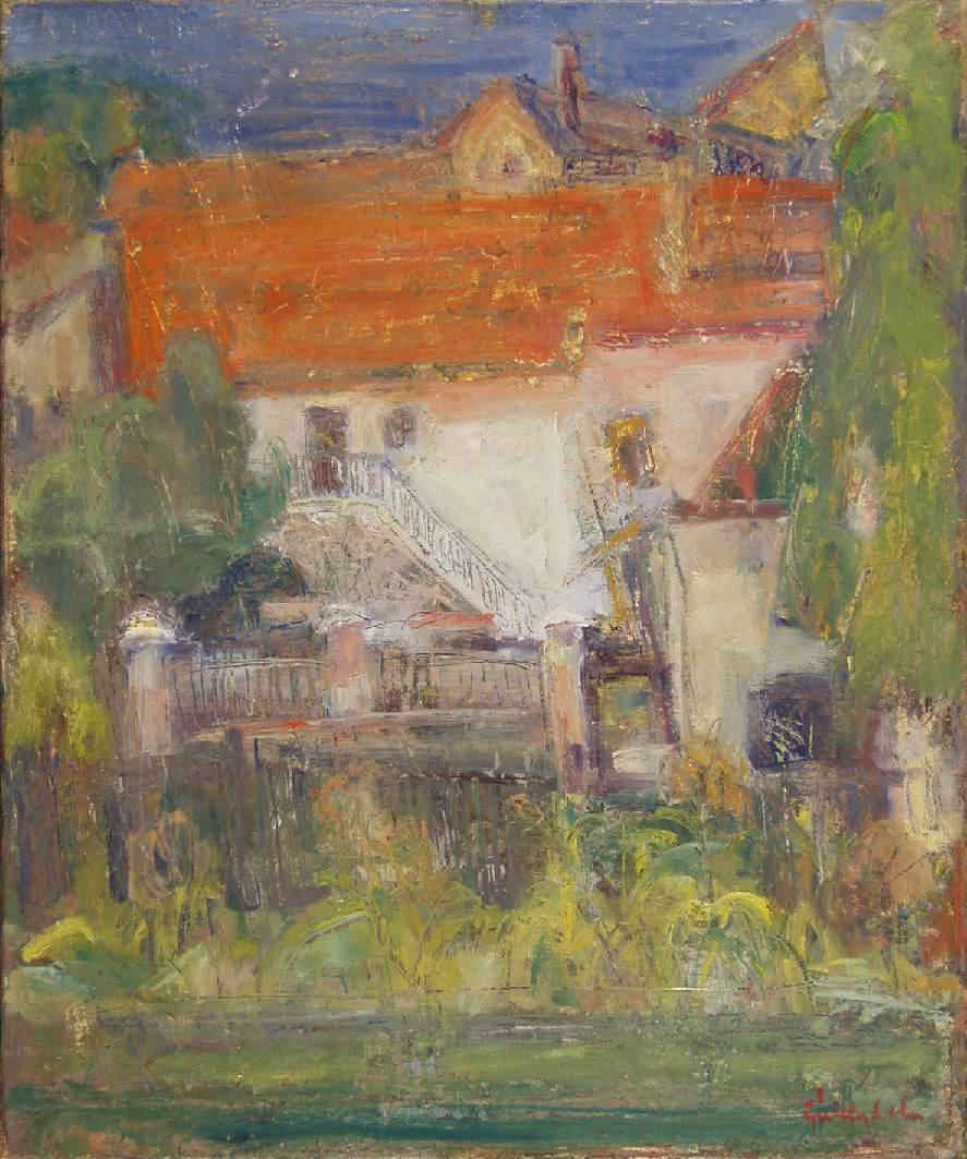 Detail of Szentendre 1950 | Lola Galffy | oil painting