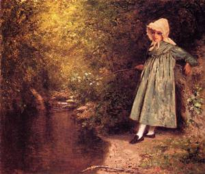 My Little Fisher Girl 1875   Jervis McEntee   oil painting