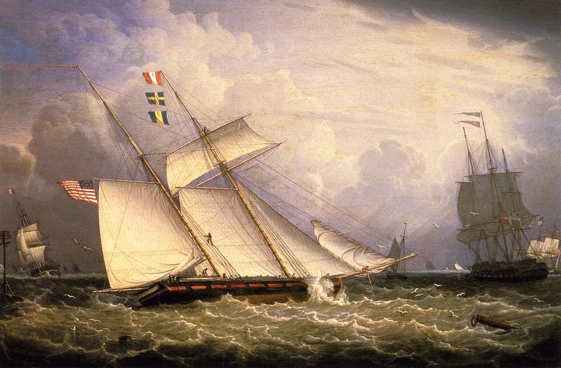 American Schooner under Sail with Heavy Seas 1834 | Robert Salmon | oil painting