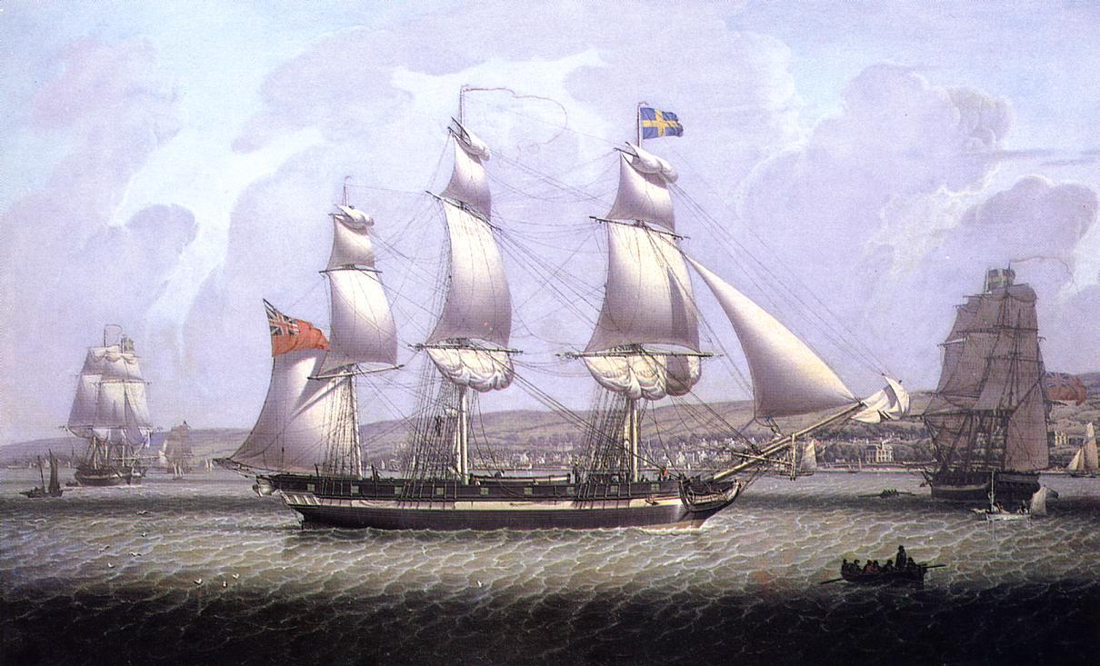 A Frigate of the Baltic Fleet off Greenock 1818 | Robert Salmon | oil painting
