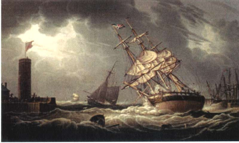 A Ship Run Aground in Whitehaven Harbor 1821 | Robert Salmon | oil painting