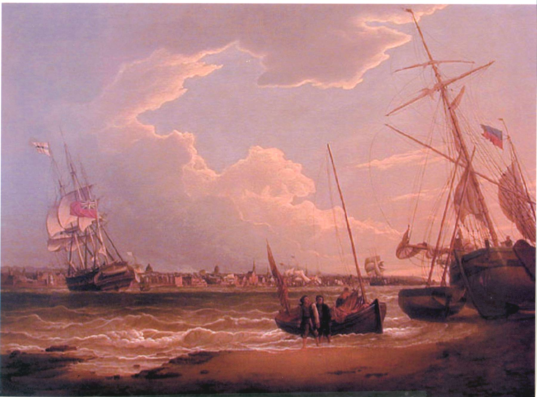 The Liverpool in the Mersey (aka Beating Up the Mersey) 1810 | Robert Salmon | oil painting