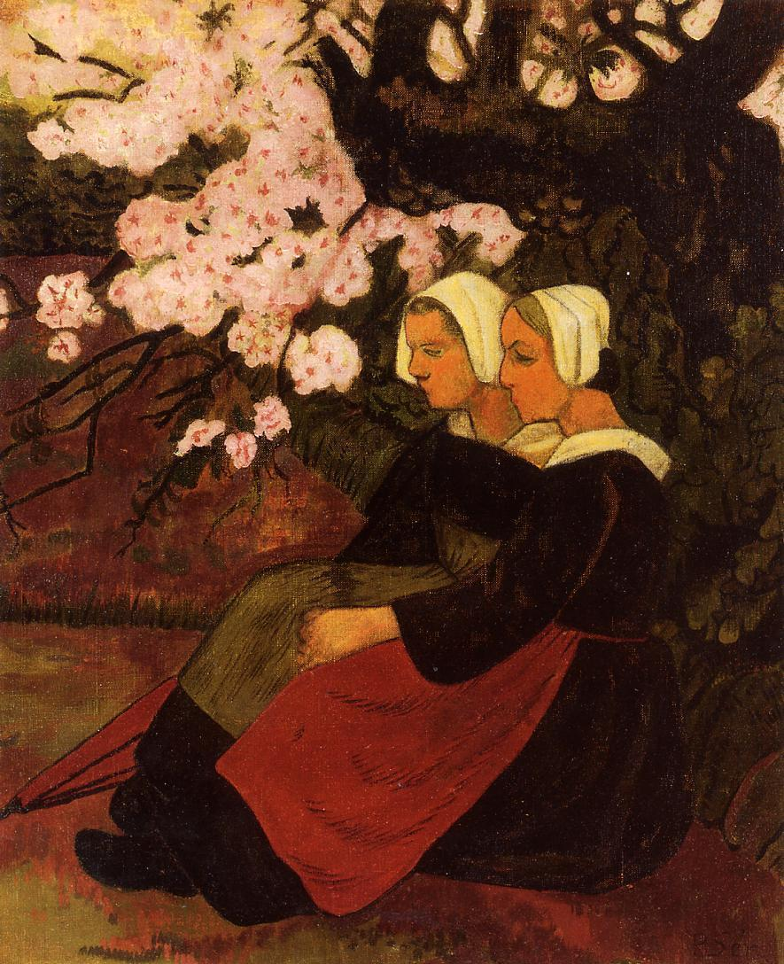Two Breton Women under a Flowering Apple Tree 1890 | Paul Serusier | oil painting