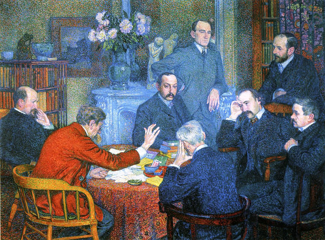 A Reading by Emile Verhaeren 1901 | Theo Van Rysselberghe | oil painting