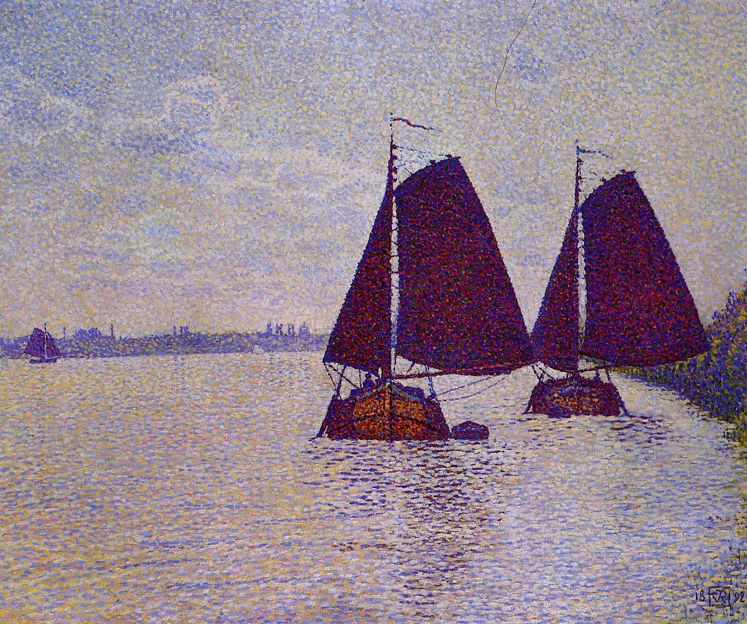 Barges on the River Scheldt 1892 | Theo Van Rysselberghe | oil painting