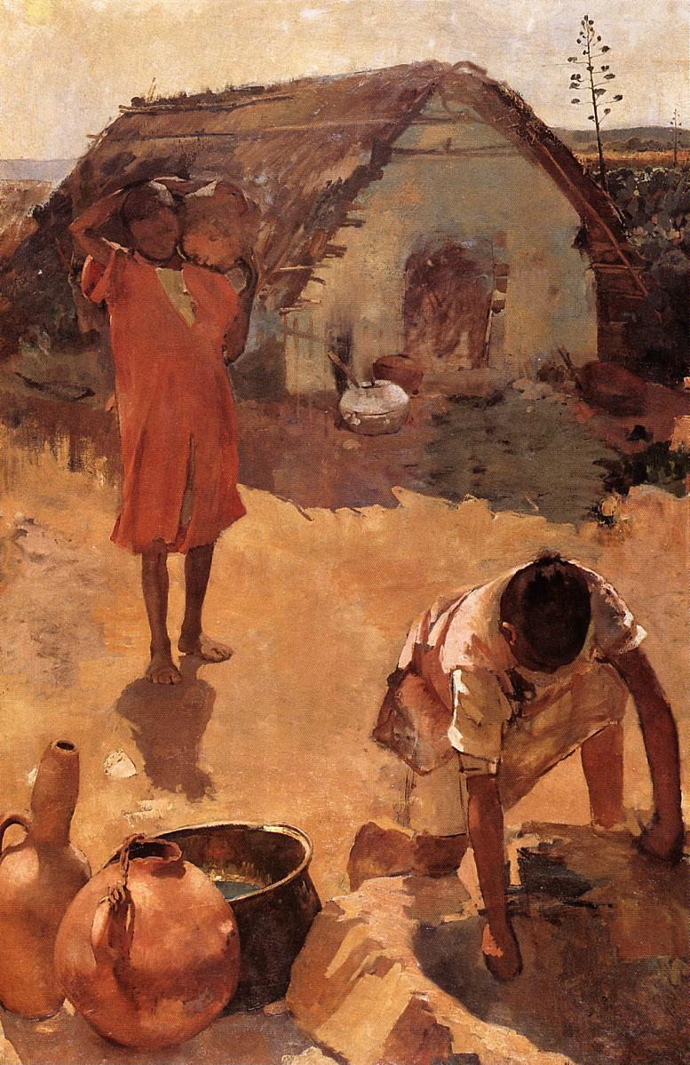 Figures near a Well in Morocco 1882-1883 | Theo Van Rysselberghe | oil painting