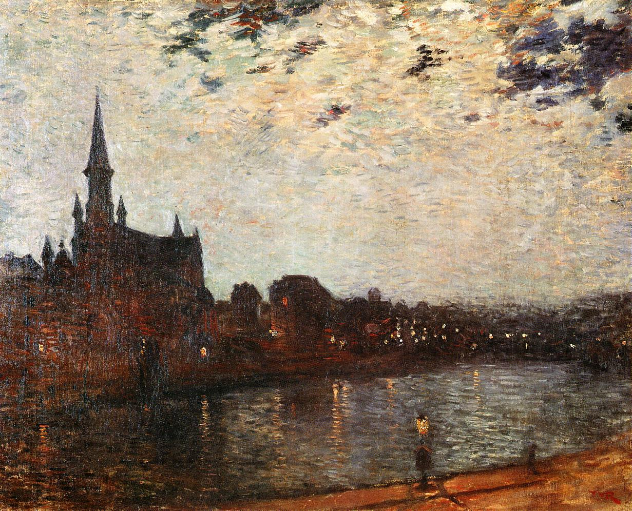 L'Eglise Sainte-Croix at Ixelles at Night 1886 | Theo Van Rysselberghe | oil painting