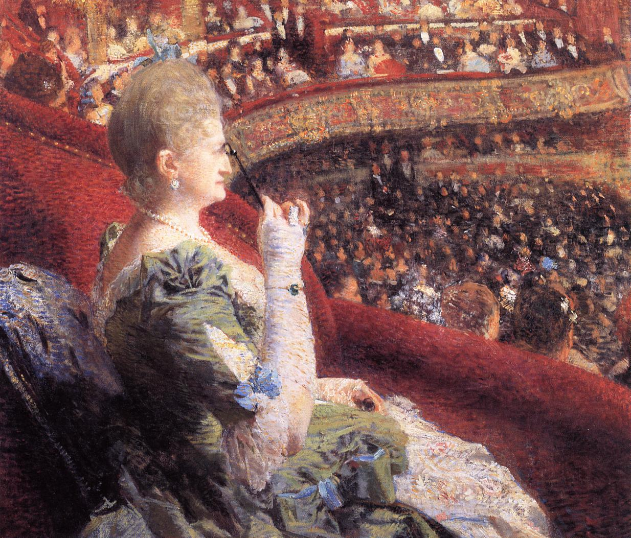 Madame Edmond Picard in Her Box at Theatre de la Monnaie 1886 | Theo Van Rysselberghe | oil painting