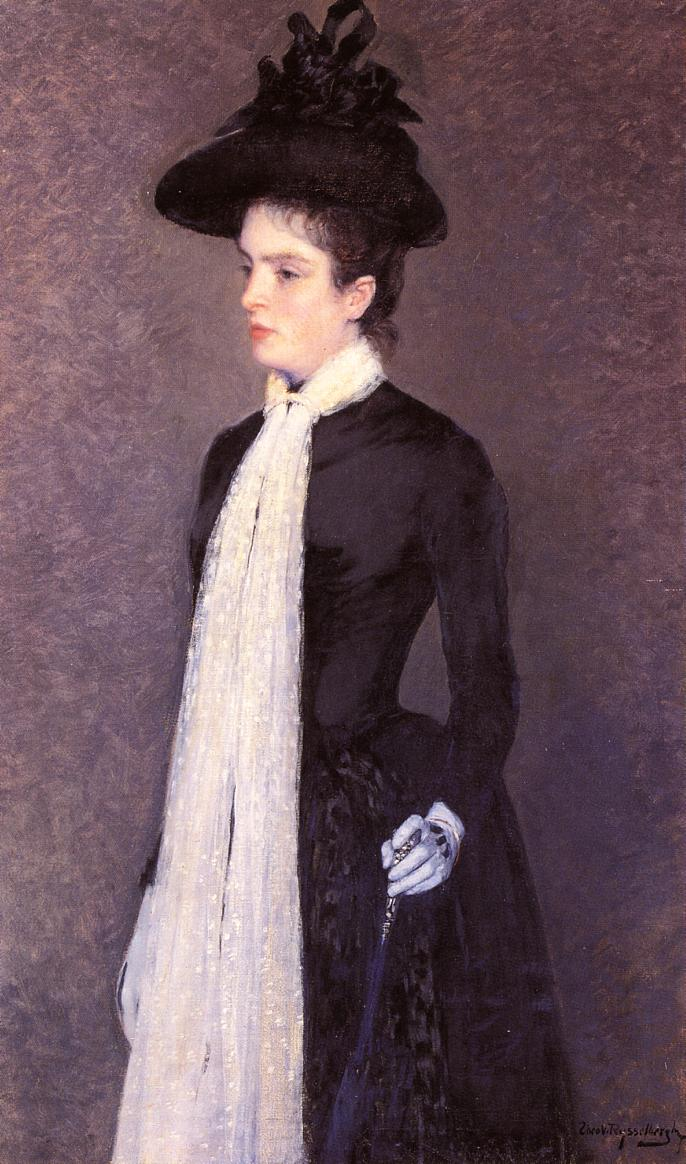 Portrait of a Woman in Black 1886-1888 | Theo Van Rysselberghe | oil painting