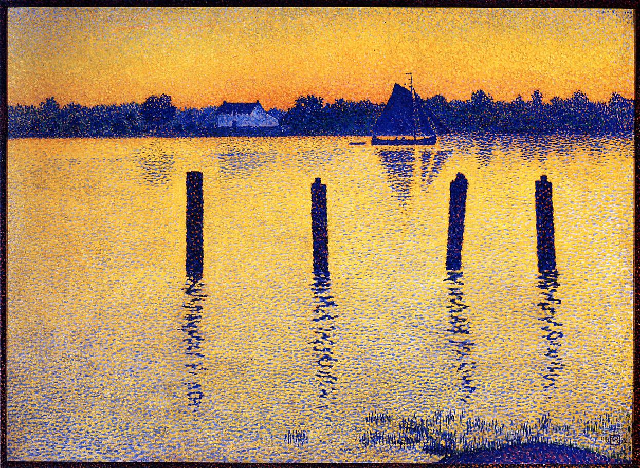 Sailboats on the River Scheldt 1892 | Theo Van Rysselberghe | oil painting
