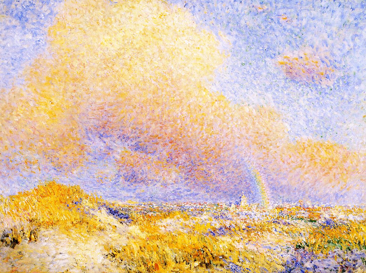 Village under a Rainbow as Seen from the Dunes 1887 | Theo Van Rysselberghe | oil painting