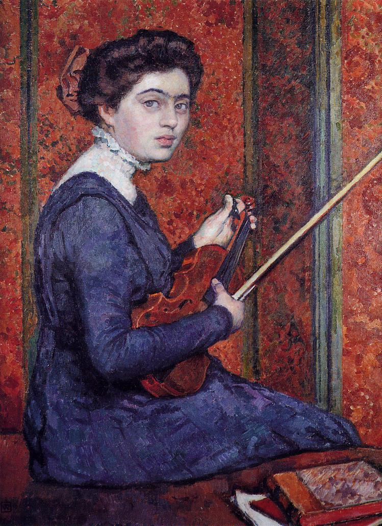 Woman with Violin (aka Portrait of Rene Druet) 1910 | Theo Van Rysselberghe | oil painting