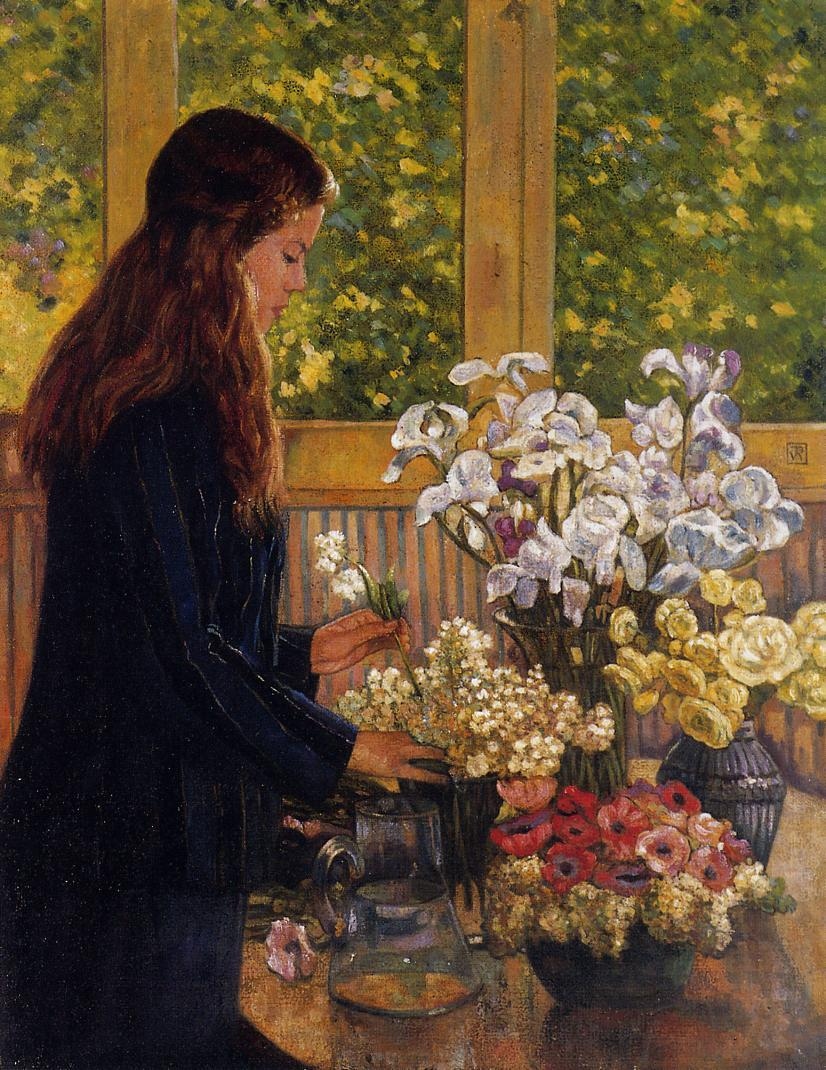 Young Girl with a Vase of Flowers Date unknown | Theo Van Rysselberghe | oil painting