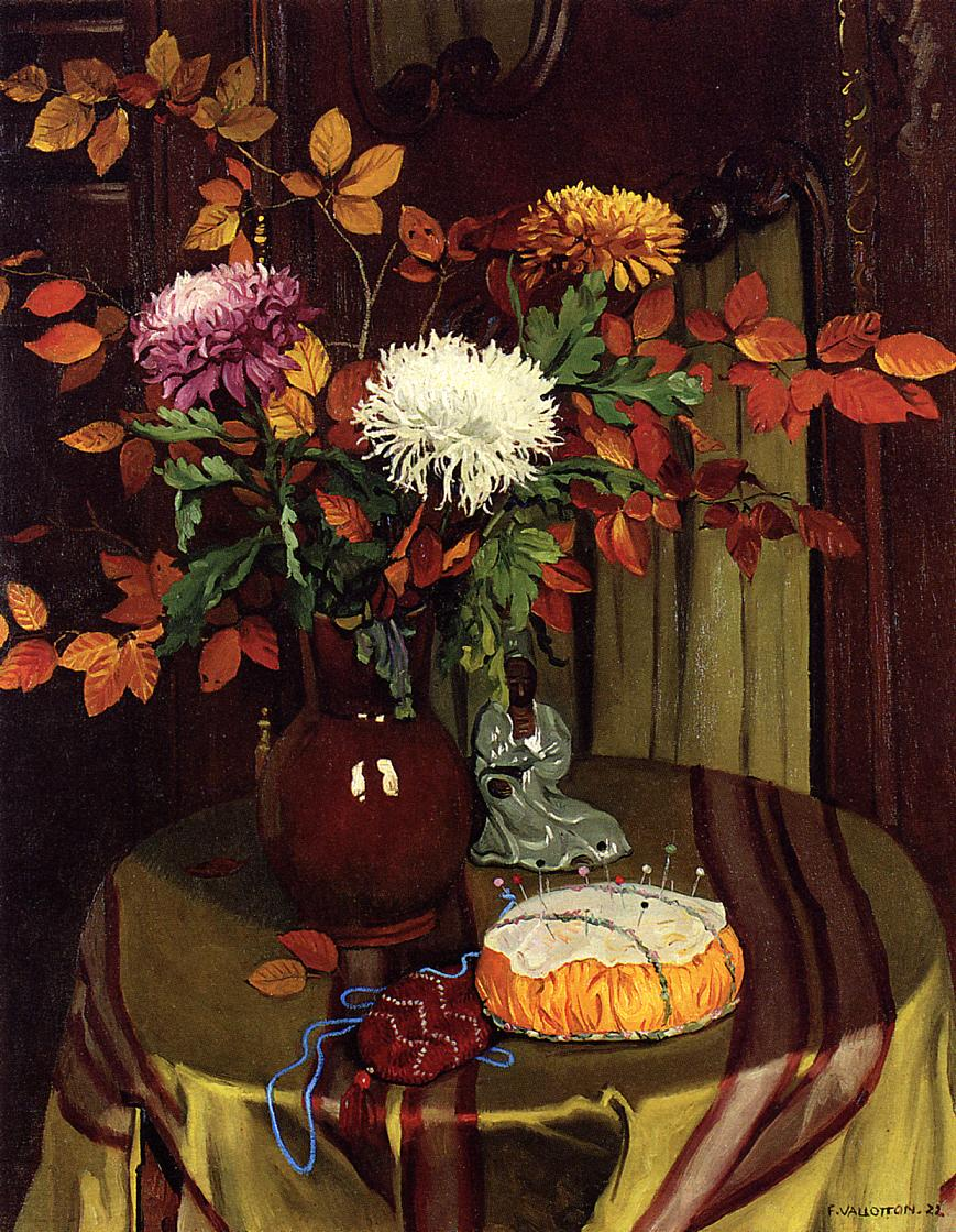 Chrysanthemums and Autumn Foliage 1922 | Felix Vallotton | oil painting
