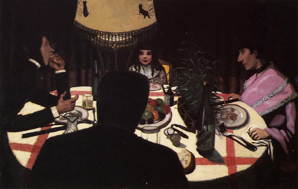Dinner by Lamplight 1900 | Felix Vallotton | oil painting